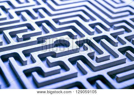 wooden labyrinth, blue light
