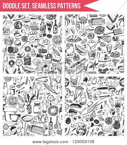 Set seamless patterns, hand drawn style - Cooking, food, vegetables, tools