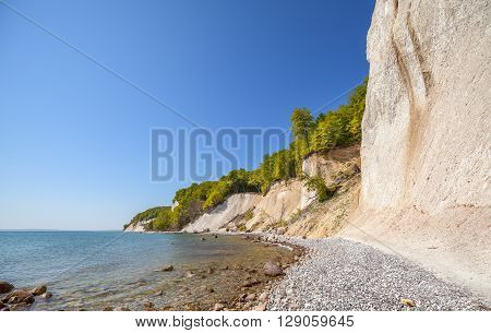 Beach And Chalk Cliffs On The Rugen Island, Germany.