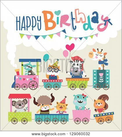 Birthday card with cute animals on train