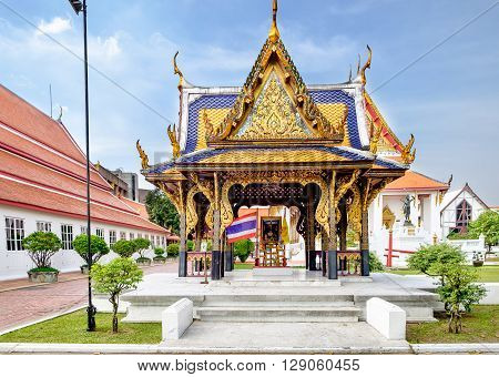 Classical Thai architecture in National Museum of Bangkok Thailand. The Bangkok National Museum is the main branch museum of the National Museums and the largest museum in Southeast Asia.