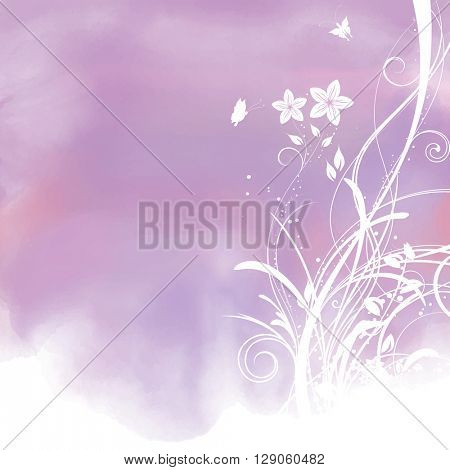 Decoratve watercolor background with floral design