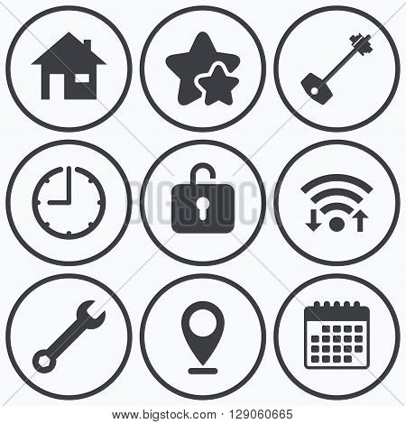 Clock, wifi and stars icons. Home key icon. Wrench service tool symbol. Locker sign. Main page web navigation. Calendar symbol.