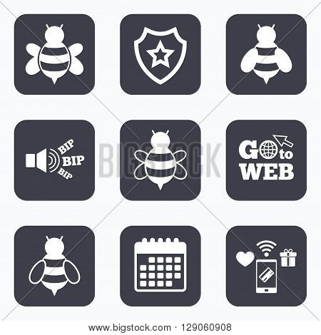 Mobile payments, wifi and calendar icons. Honey bees icons. Bumblebees symbols. Flying insects with sting signs. Go to web symbol.