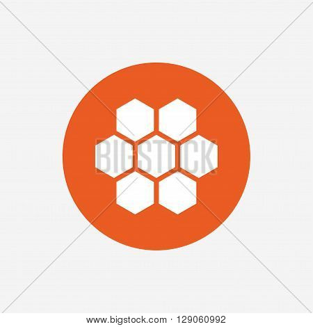 Honeycomb sign icon. Honey cells symbol. Sweet natural food. Orange circle button with icon. Vector