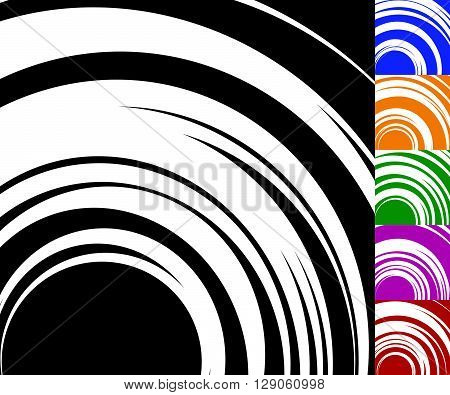 Monochrome Background Set With Random Concentric, Radiating, Radial Circles
