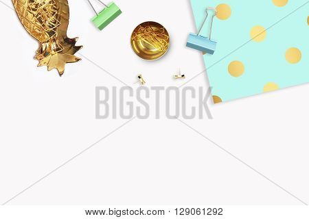 Background mock-up. Hero and header for site. Flat lay. Stationery golden. Feminine scene. Elegant background. Woman modern desk top