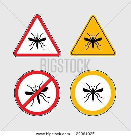 Mosquito vector icons set black flat silhouettes on a white background, Mosquito danger signs, Mosquito in circle and triangle flat icons