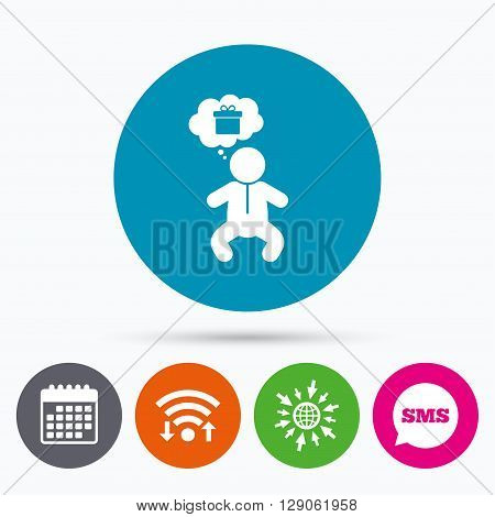 Wifi, Sms and calendar icons. Baby infant think about gift box sign icon. Toddler boy in pajamas or crawlers body symbol. Go to web globe.