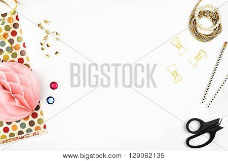 Styles stock photography | Product Mockup | Desktop | Dots and gold | Office desktop | Shabby style | Mock-up | Flat lay