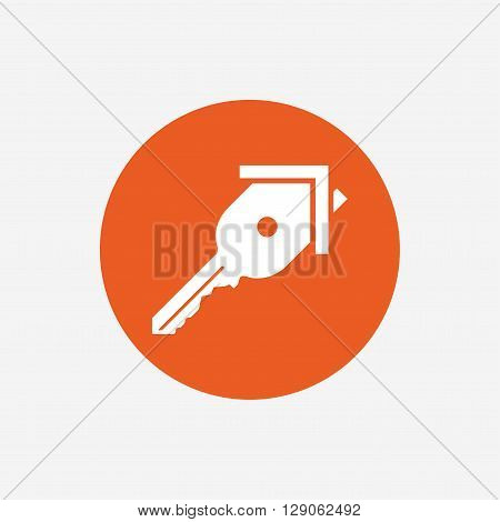 Key from the house sign icon. Unlock tool symbol. Orange circle button with icon. Vector
