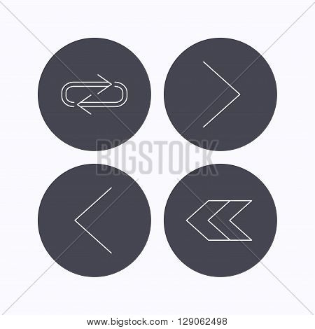 Arrows icons. Right direction, repeat linear signs. Next, back arrows flat line icons. Flat icons in circle buttons on white background. Vector