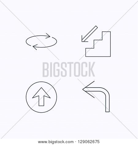 Arrows icons. Upload, repeat and shuffle linear signs. Turn left, downstairs arrow flat line icons. Flat linear icons on white background. Vector