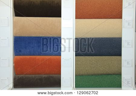 Carpet swatches in an interior decoration shop