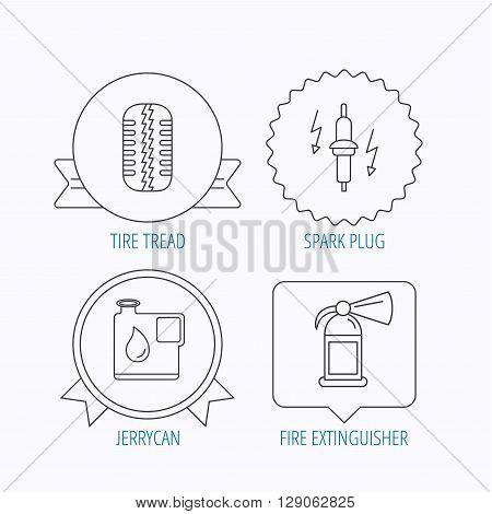 Wheel, fire extinguisher and spark plug icons. Fuel jerrycan, tire tread linear signs. Award medal, star label and speech bubble designs. Vector