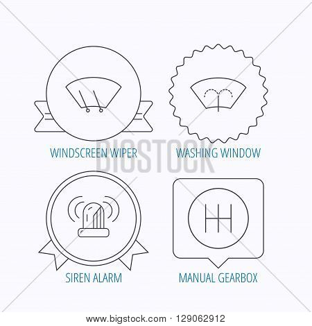 Manual gearbox, siren alarm and washing window icons. Windscreen wiper linear sign. Award medal, star label and speech bubble designs. Vector