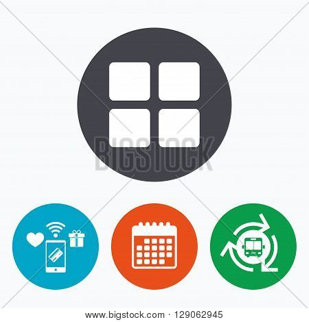 Thumbnails sign icon. Gallery view option symbol. Mobile payments, calendar and wifi icons. Bus shuttle.