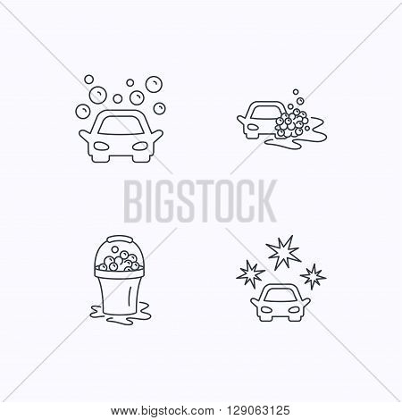 Car wash icons. Automatic cleaning station linear signs. Wet cleaning and foam bucket flat line icons. Flat linear icons on white background. Vector