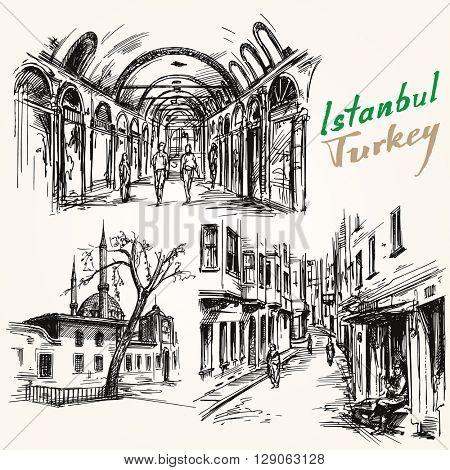 Turkey, Istanbul. Hand drawn collection. Grand Bazaar.
