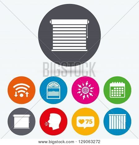 Wifi, like counter and calendar icons. Louvers icons. Plisse, rolls, vertical and horizontal. Window blinds or jalousie symbols. Human talk, go to web.