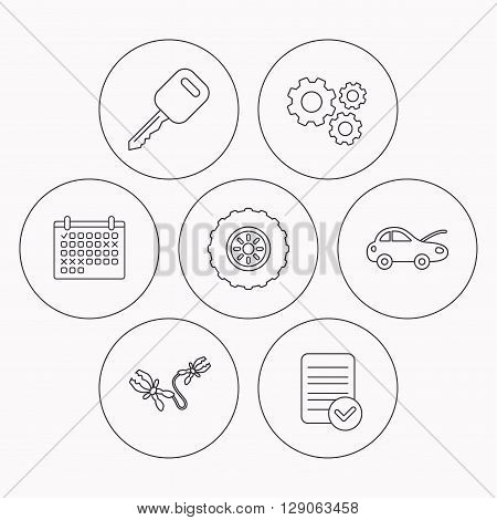 Car key, wheel and repair service icons. Battery terminal linear sign. Check file, calendar and cogwheel icons. Vector