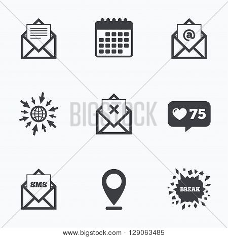 Calendar, like counter and go to web icons. Mail envelope icons. Message document symbols. Post office letter signs. Delete mail and SMS message. Location pointer.