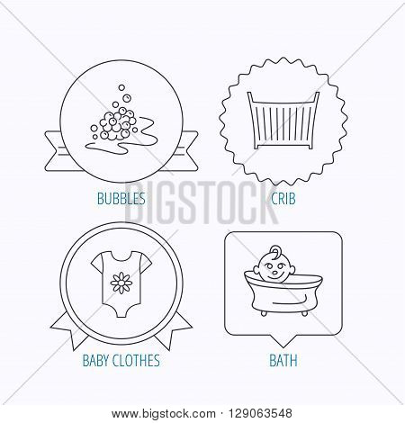 Baby clothes, bath and crib icons. Bath bubbles linear sign. Award medal, star label and speech bubble designs. Vector