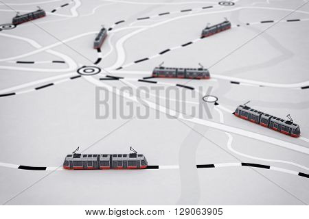 3D rendering of transport itinerary with train