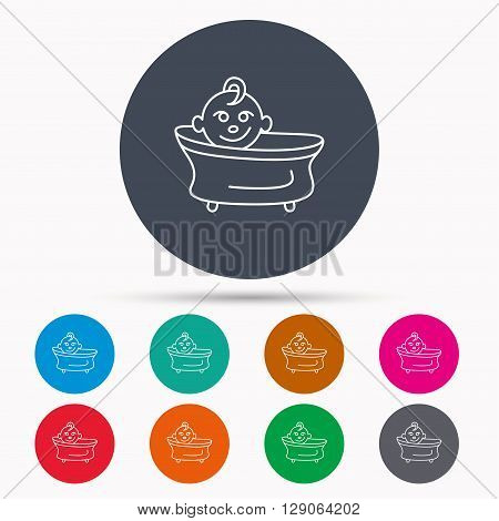Baby in bath icon. Toddler bathing sign. Newborn washing symbol. Icons in colour circle buttons. Vector
