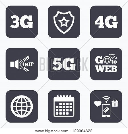 Mobile payments, wifi and calendar icons. Mobile telecommunications icons. 3G, 4G and 5G technology symbols. World globe sign. Go to web symbol.