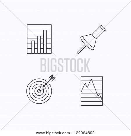 Pushpin, graph charts and target icons. Supply and demand linear signs. Flat linear icons on white background. Vector