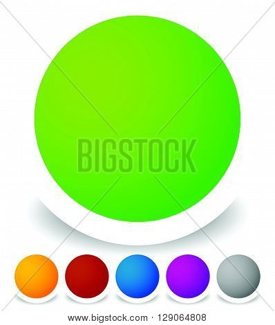 Bright Colorful Circle Design Elements, Empty Blank Button Backgrounds In 6 Colors. Transparent Shad