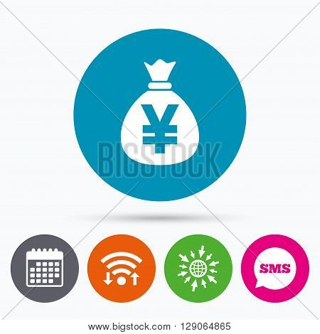 Wifi, Sms and calendar icons. Money bag sign icon. Yen JPY currency symbol. Go to web globe.