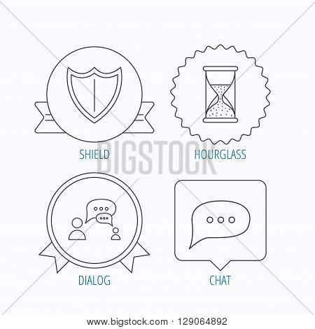 Dialog, chat speech bubbles and shield icons. Protection, hourglass linear signs. Award medal, star label and speech bubble designs. Vector