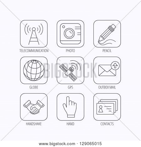 Handshake, contacts and gps satellite icons. Pencil, photo camera and mail linear signs. Telecommunication station flat line icons. Flat linear icons in squares on white background. Vector