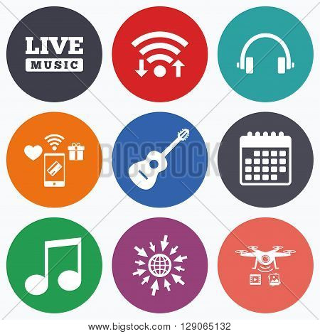 Wifi, mobile payments and drones icons. Musical elements icons. Musical note key and Live music symbols. Headphones and acoustic guitar signs. Calendar symbol.