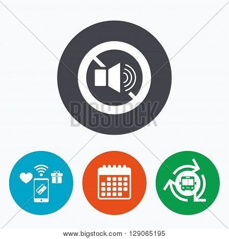 Speaker volume sign icon. No Sound symbol. Mobile payments, calendar and wifi icons. Bus shuttle.