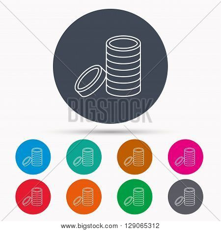 Coins icon. Cash money sign. Bank finance symbol. Icons in colour circle buttons. Vector