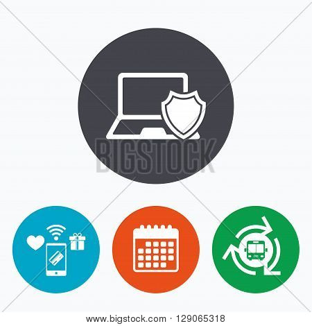 Laptop protection sign icon. Notebook with shield symbol. Mobile payments, calendar and wifi icons. Bus shuttle.