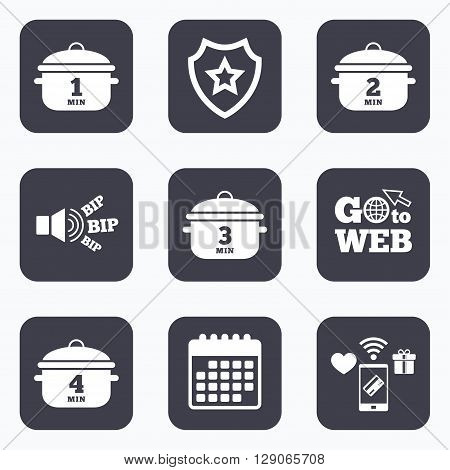 Mobile payments, wifi and calendar icons. Cooking pan icons. Boil 1, 2, 3 and 4 minutes signs. Stew food symbol. Go to web symbol.