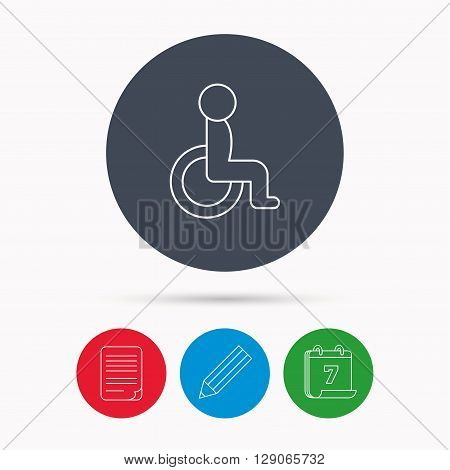 Disabled person icon. Human on wheelchair sign. Patient transportation symbol. Calendar, pencil or edit and document file signs. Vector