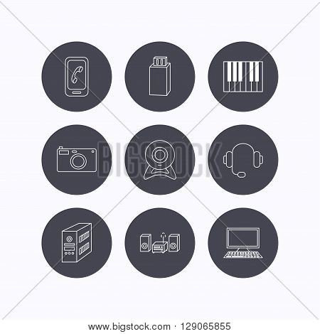 Photo camera, headphones and Usb flash icons. PC case, computer with monitor and web camera linear signs. Piano icons. Flat icons in circle buttons on white background. Vector