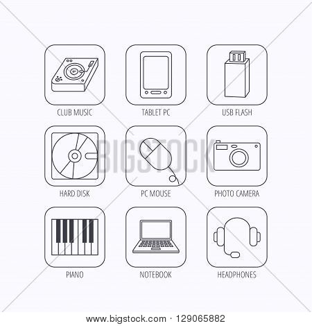Tablet PC, USB flash and notebook laptop icons. Club music, hard disk and photo camera linear signs. Piano, headphones icons. Flat linear icons in squares on white background. Vector