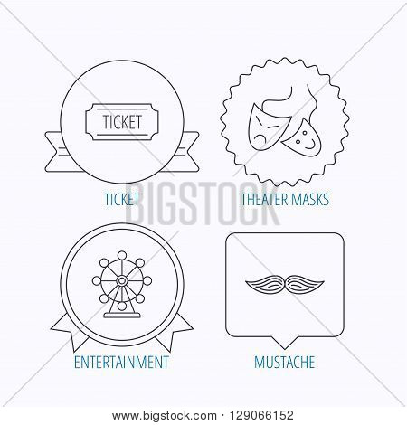 Ferris wheel, ticket and theater masks icons. Mustache linear sign. Award medal, star label and speech bubble designs. Vector