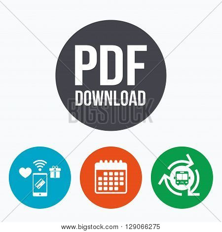 PDF download icon. Upload file button. Load symbol. Mobile payments, calendar and wifi icons. Bus shuttle.
