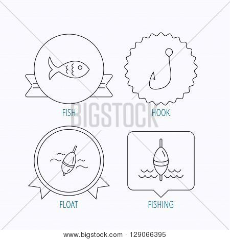Fishing hook and float icons. Fish linear sign. Award medal, star label and speech bubble designs. Vector