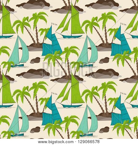 Palm trees island and boats pattern, summer background