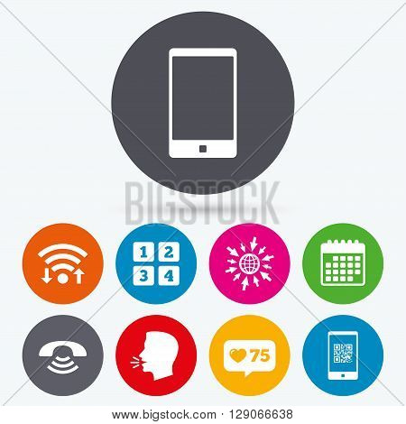 Wifi, like counter and calendar icons. Phone icons. Smartphone with Qr code sign. Call center support symbol. Cellphone keyboard symbol. Human talk, go to web.