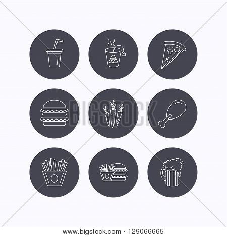 Hamburger, pizza and soft drink icons. Beer, tea bag and chips fries linear signs. Chicken leg, carrot icons. Flat icons in circle buttons on white background. Vector