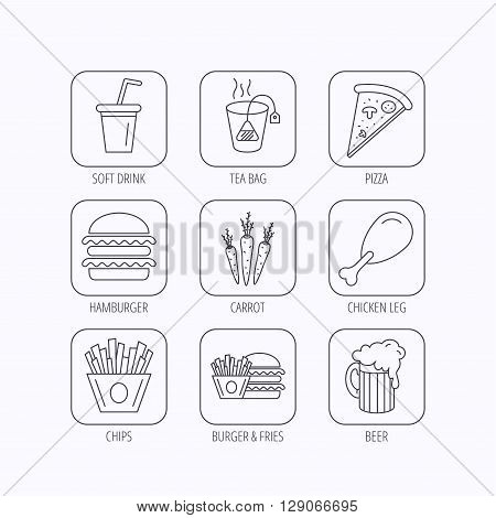 Hamburger, pizza and soft drink icons. Beer, tea bag and chips fries linear signs. Chicken leg, carrot icons. Flat linear icons in squares on white background. Vector
